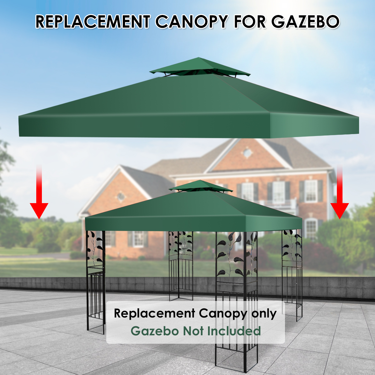 10-039-X-10-039-Gazebo-Top-Cover-Patio-Canopy-Replacement-1-Tier-or-2-Tier-3-Color thumbnail 47