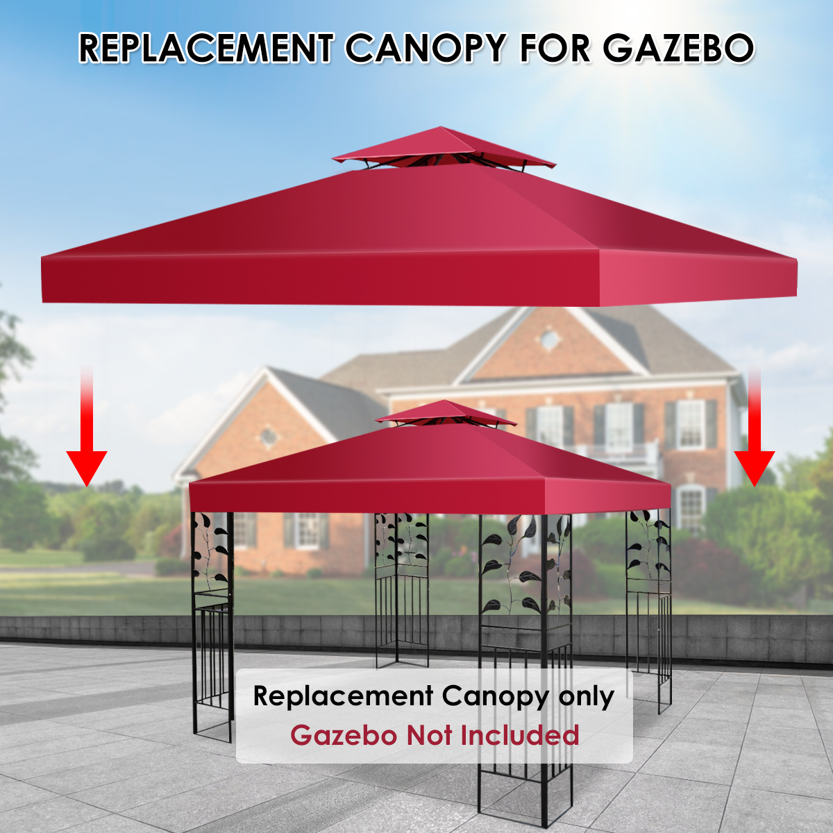 10-039-X-10-039-Gazebo-Top-Cover-Patio-Canopy-Replacement-1-Tier-or-2-Tier-3-Color thumbnail 57