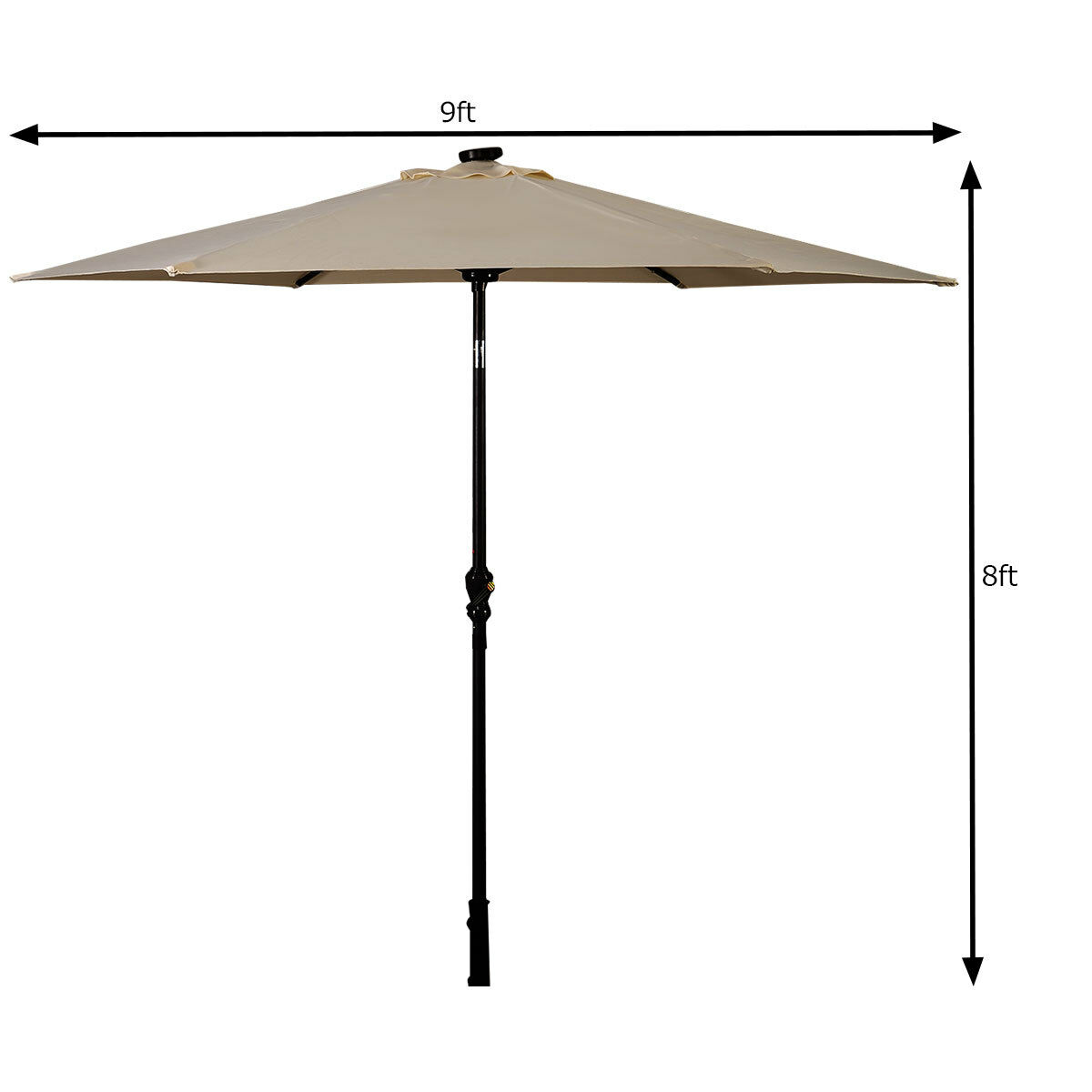 9FT-Patio-Solar-Umbrella-LED-Patio-Market-Steel-Tilt-W-Crank-Outdoor-GOPLUS-New thumbnail 5