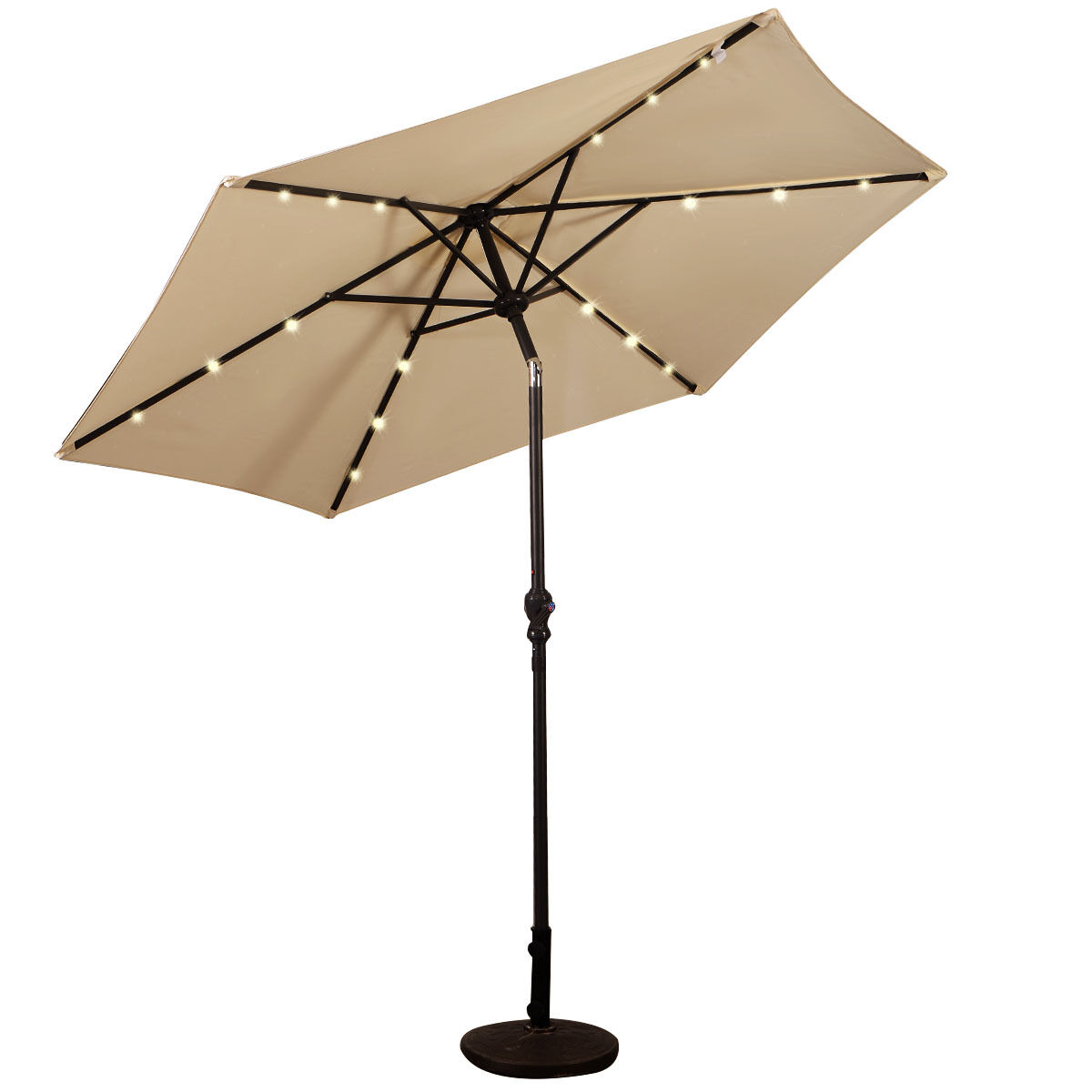 9FT-Patio-Solar-Umbrella-LED-Patio-Market-Steel-Tilt-W-Crank-Outdoor-GOPLUS-New thumbnail 6