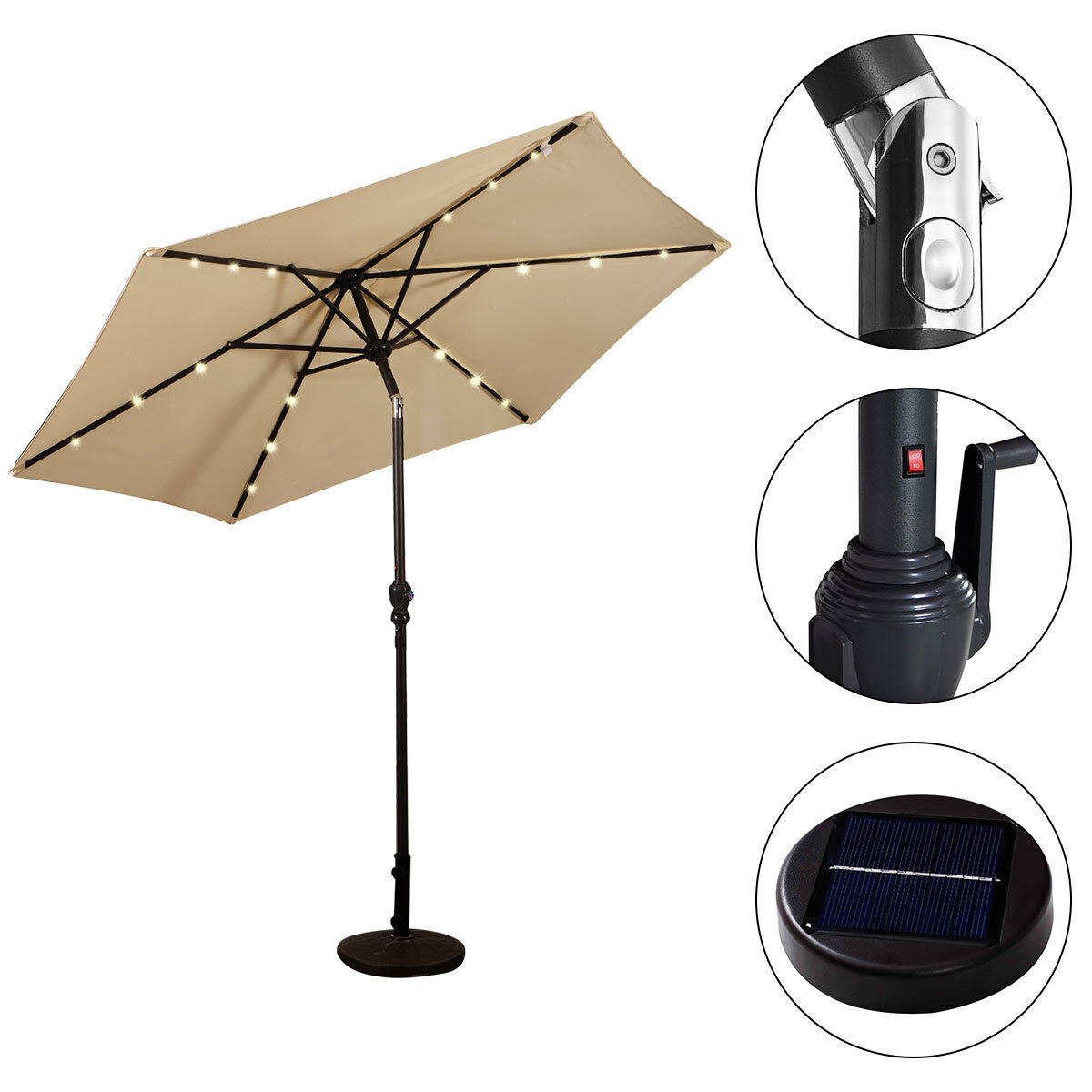 9FT-Patio-Solar-Umbrella-LED-Patio-Market-Steel-Tilt-W-Crank-Outdoor-GOPLUS-New thumbnail 4
