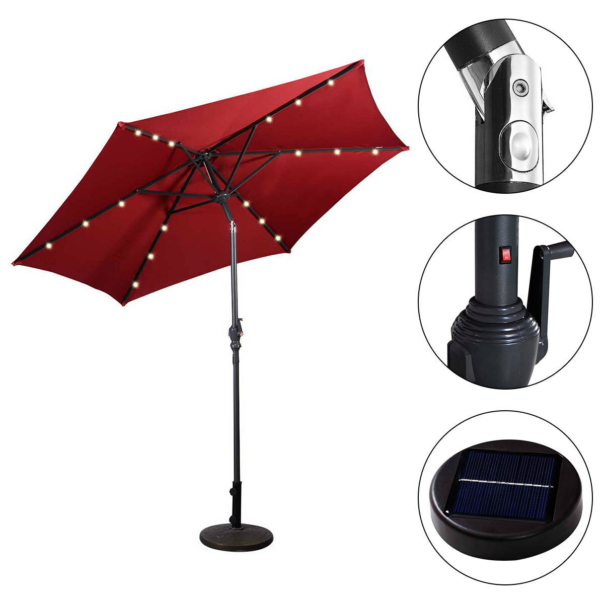 9FT-Patio-Solar-Umbrella-LED-Patio-Market-Steel-Tilt-W-Crank-Outdoor-GOPLUS-New thumbnail 16