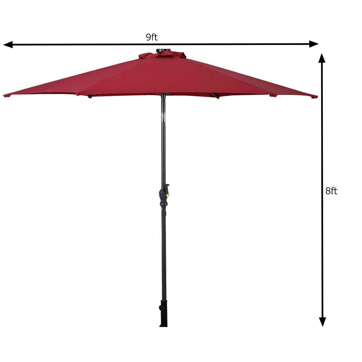 9FT-Patio-Solar-Umbrella-LED-Patio-Market-Steel-Tilt-W-Crank-Outdoor-GOPLUS-New thumbnail 17