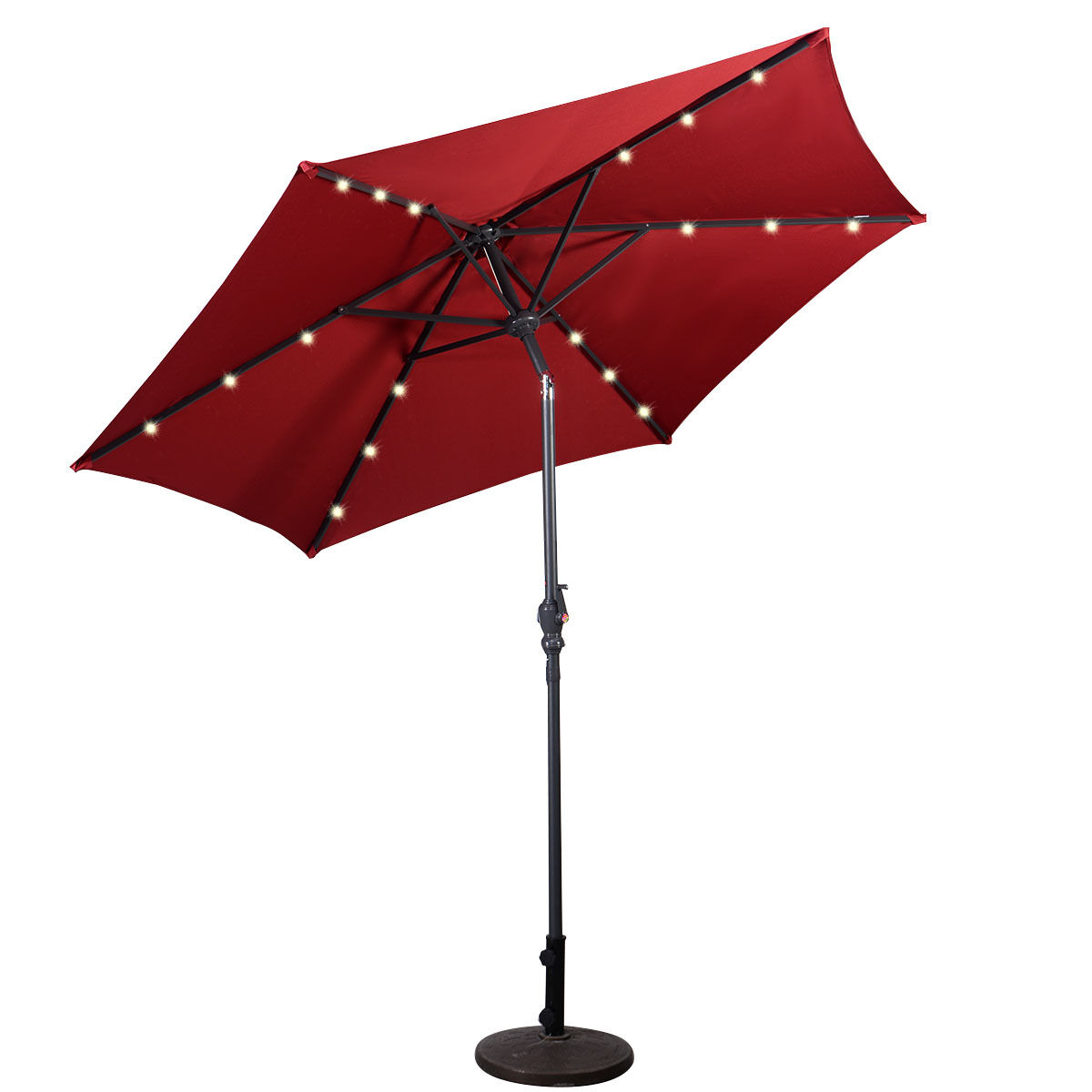 9FT-Patio-Solar-Umbrella-LED-Patio-Market-Steel-Tilt-W-Crank-Outdoor-GOPLUS-New thumbnail 20