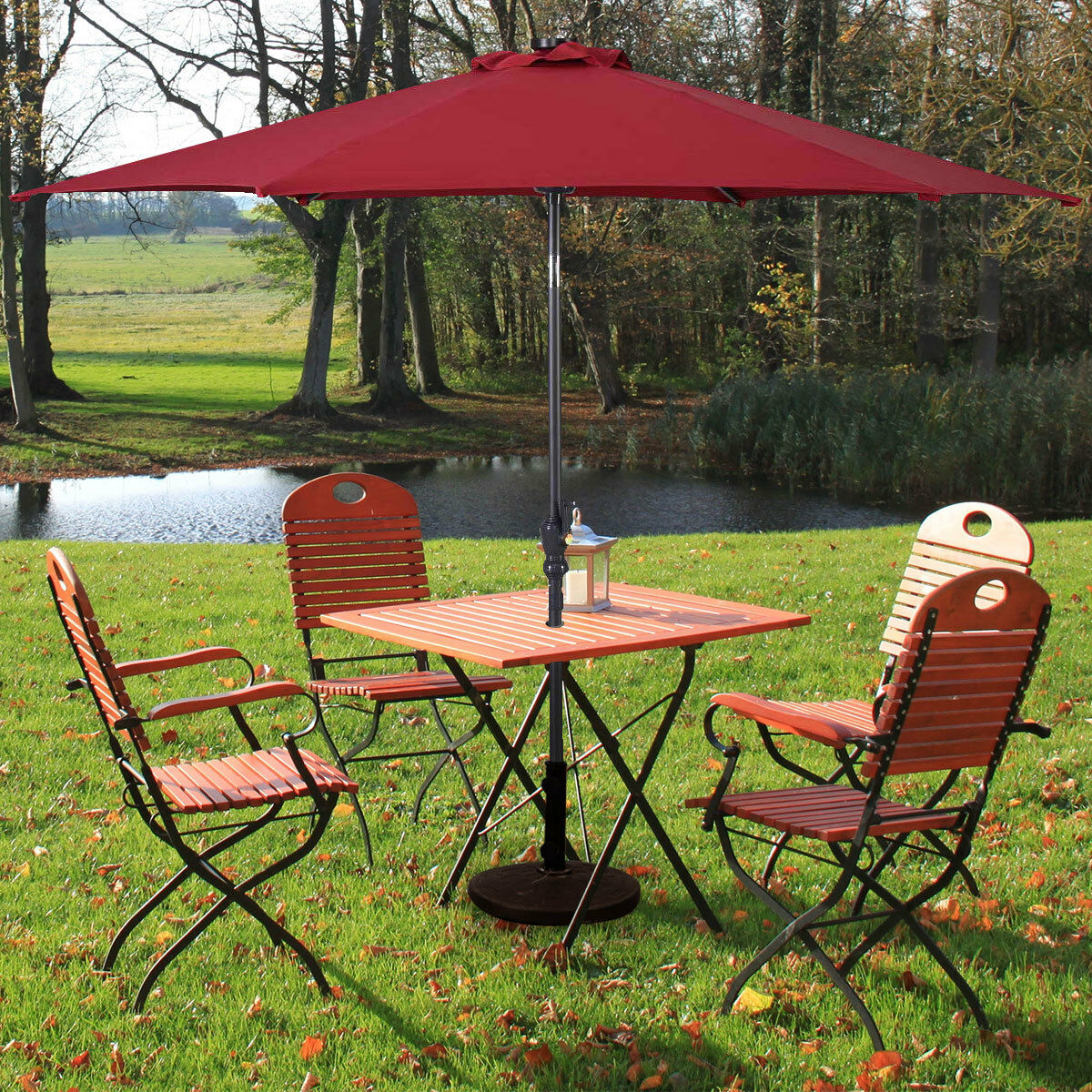 9FT-Patio-Solar-Umbrella-LED-Patio-Market-Steel-Tilt-W-Crank-Outdoor-GOPLUS-New thumbnail 18