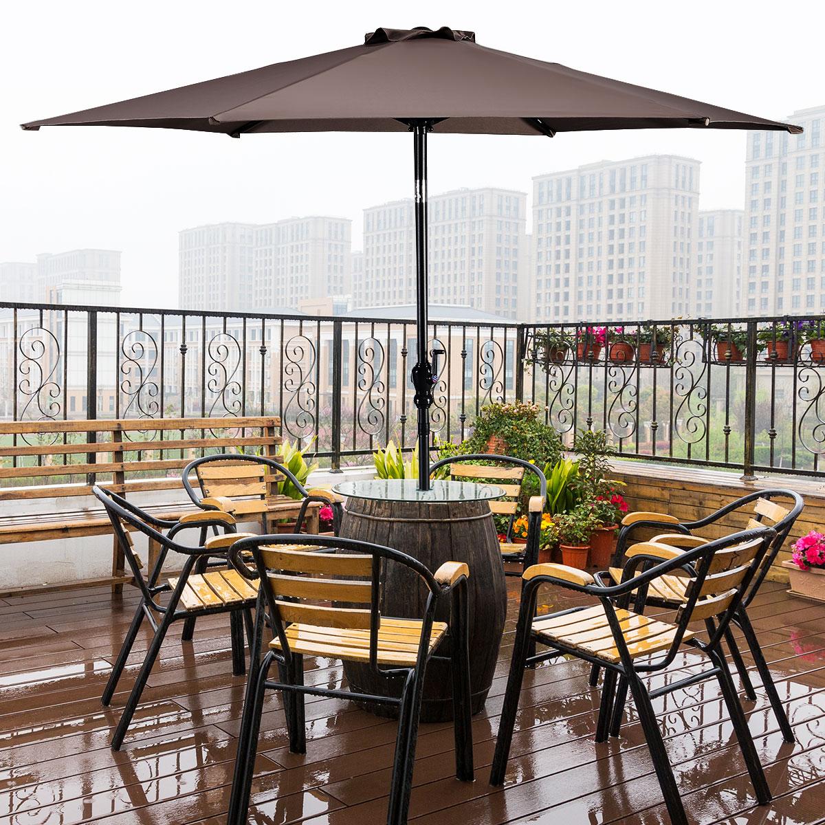 Goplus 10ft Patio Umbrella 6 Ribs Market Steel Tilt W Crank Outdoor