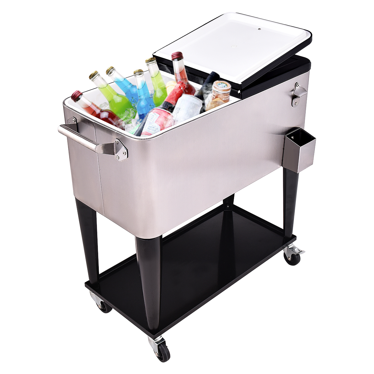Patio Cooler Rolling Outdoor Stainless Steel Ice Beverage Ch