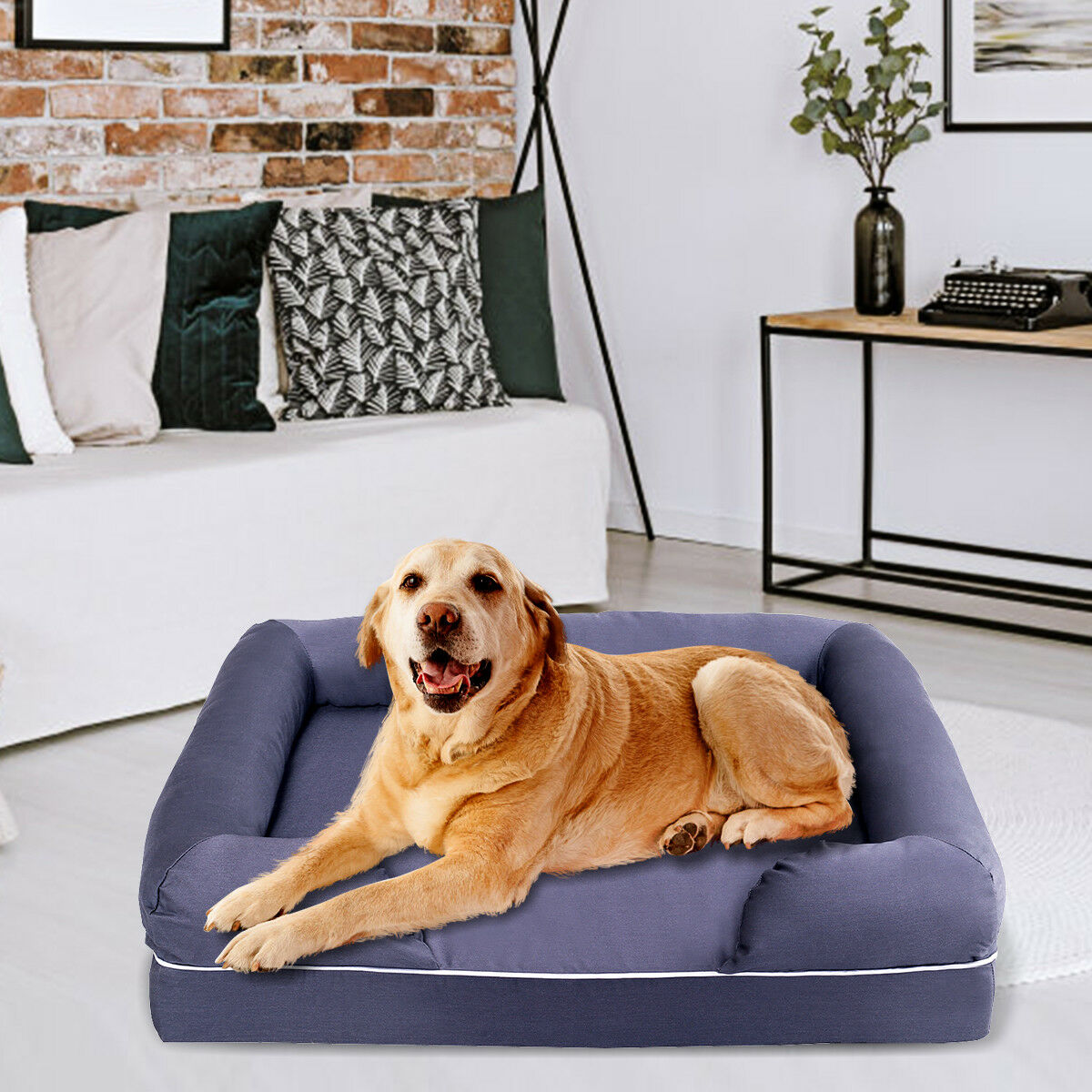 Details about Dog Sofa Pet Bed Lounge Solid Memory Foam Comfortable  Small/Large/X-Large Gray