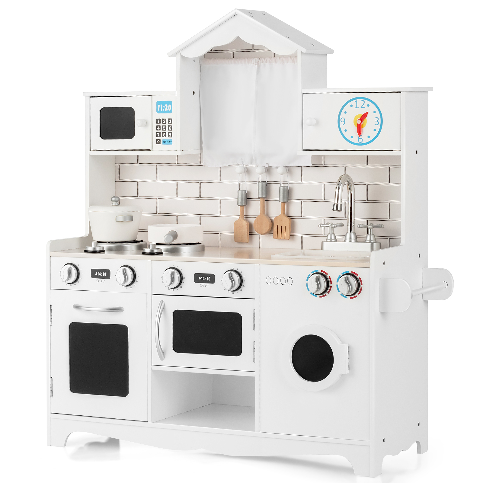 Costway Kids Play Kitchen Wooden Cooking Pretend Playset Coo