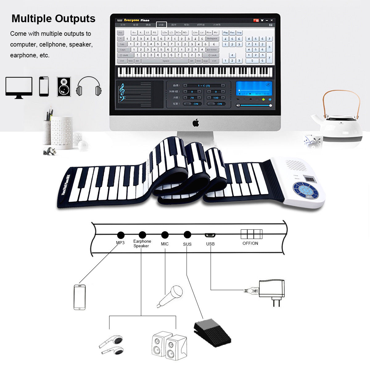 Musical Instruments & Gear 88 Key Electronic Roll Up Piano