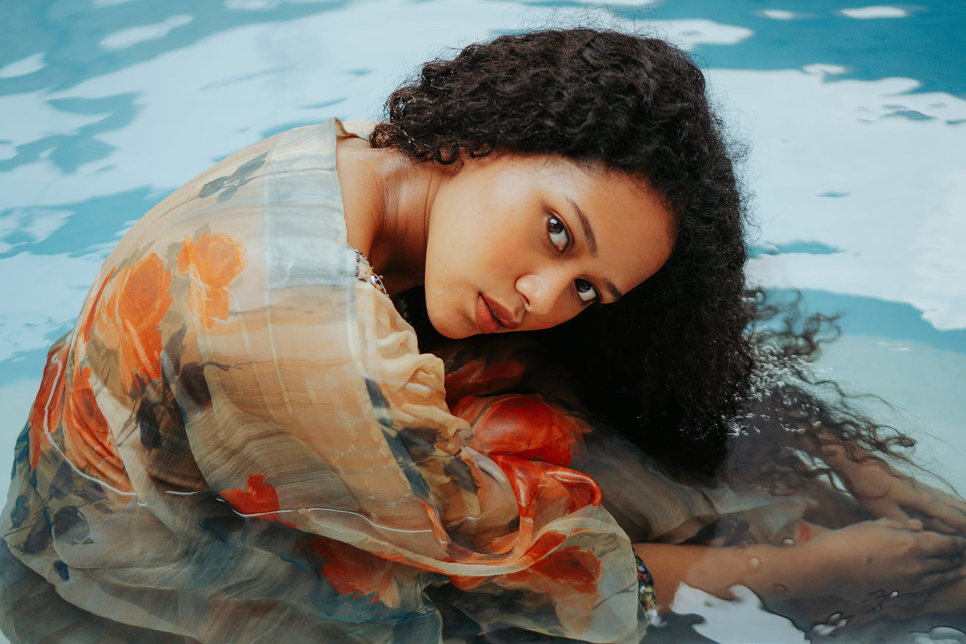 girl in water, pool, yescomusa