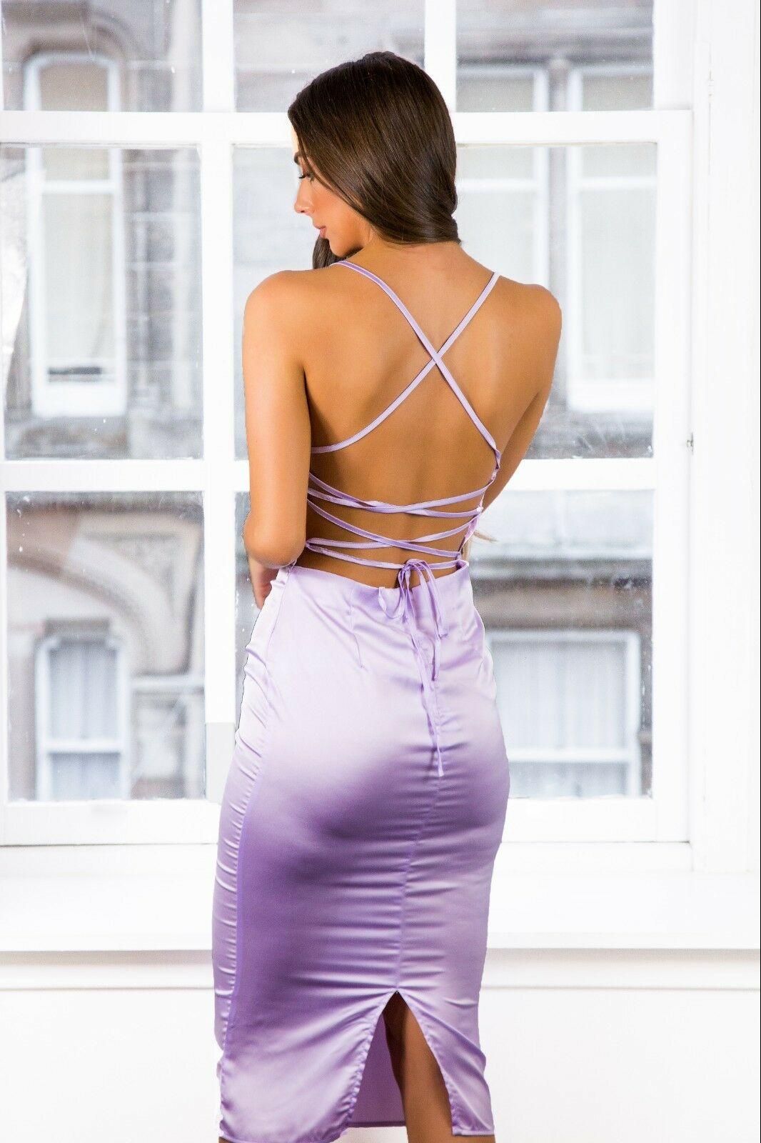 Women-Ladies-Satin-Dress-Purple-Lilac-Strappy-Cowl-Neck-Midi-Available-size-8-12 thumbnail 10