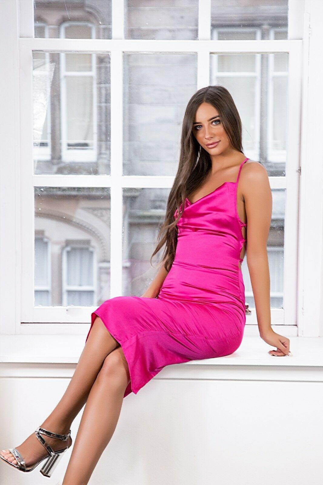 Women-Ladies-Satin-Dress-Purple-Lilac-Strappy-Cowl-Neck-Midi-Available-size-8-12 thumbnail 17