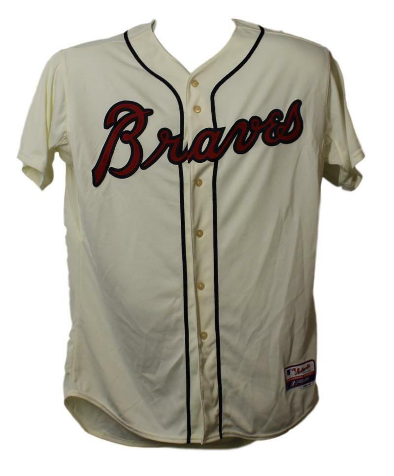 new concept 09936 07331 Details about Chipper Jones Autographed Atlanta Braves Majestic Cream 48  Jersey BAS 21613