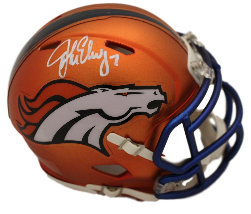 JSA W Auth Silver John Elway Autographed Denver Broncos Mini Helmet