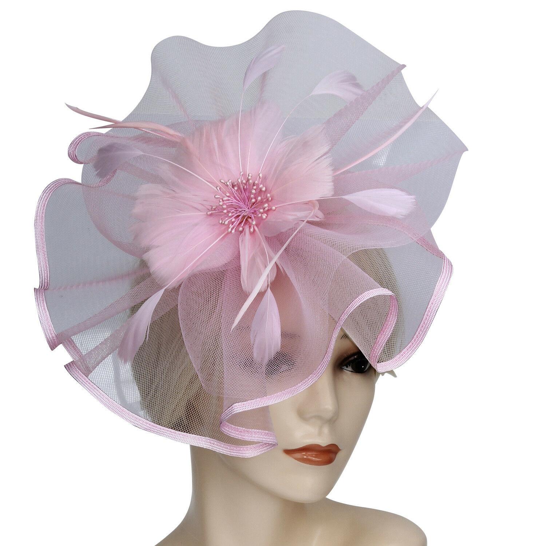 e8a7573d Elegant Flower Feather Headband Hat Fascinator Wedding Headwear ...