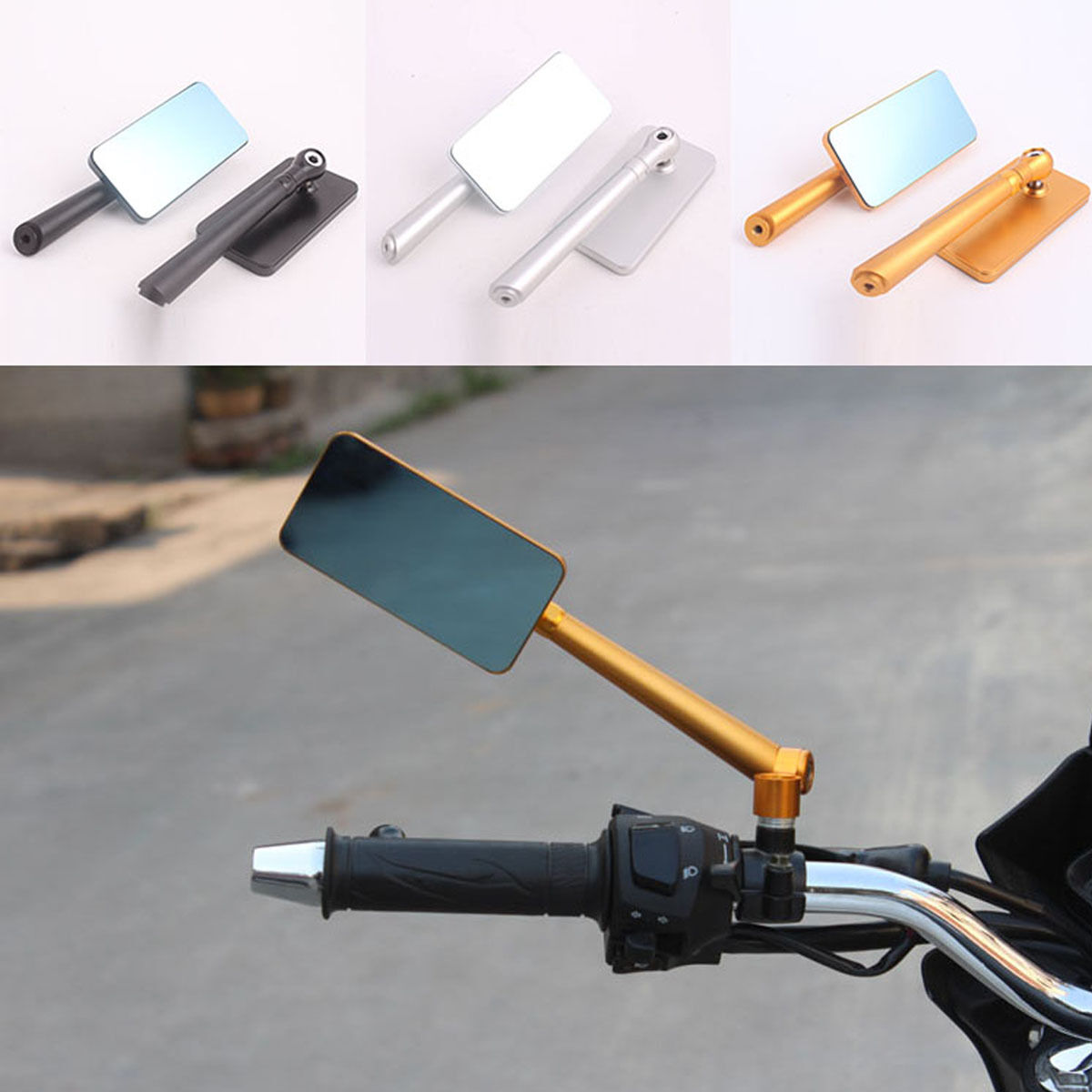 miniature 10 - Universal Motorcycle Bikes CNC Aluminum Rearview Side Mirrors Rectangle Bar End