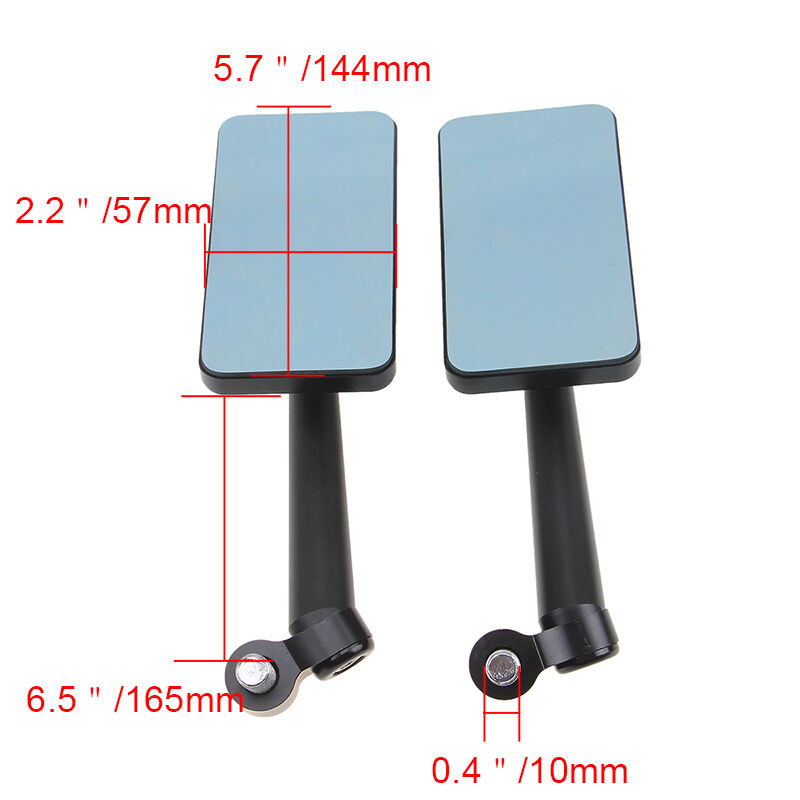 miniature 13 - Universal Motorcycle Bikes CNC Aluminum Rearview Side Mirrors Rectangle Bar End