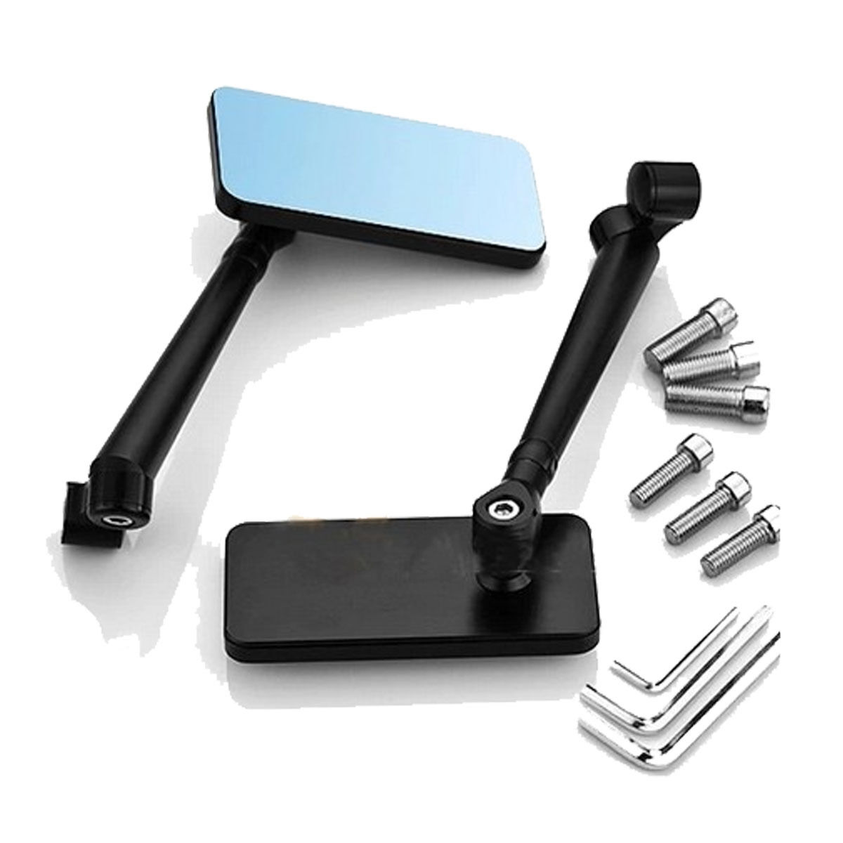 miniature 11 - Universal Motorcycle Bikes CNC Aluminum Rearview Side Mirrors Rectangle Bar End
