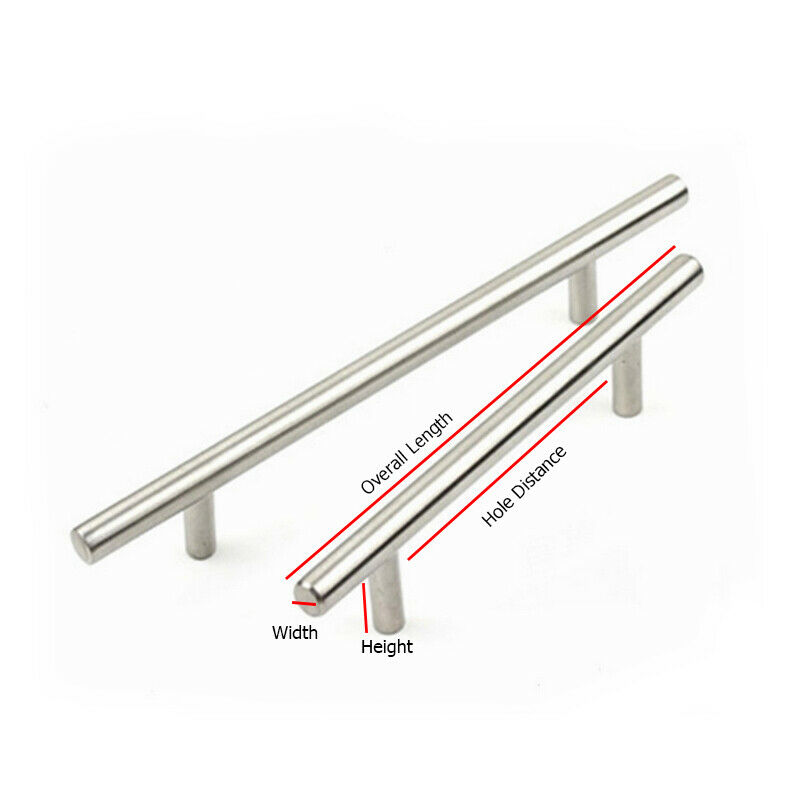 miniature 12 - Stainless Steel T bar Modern Kitchen Cabinet Door Handles Drawer Pulls Knobs