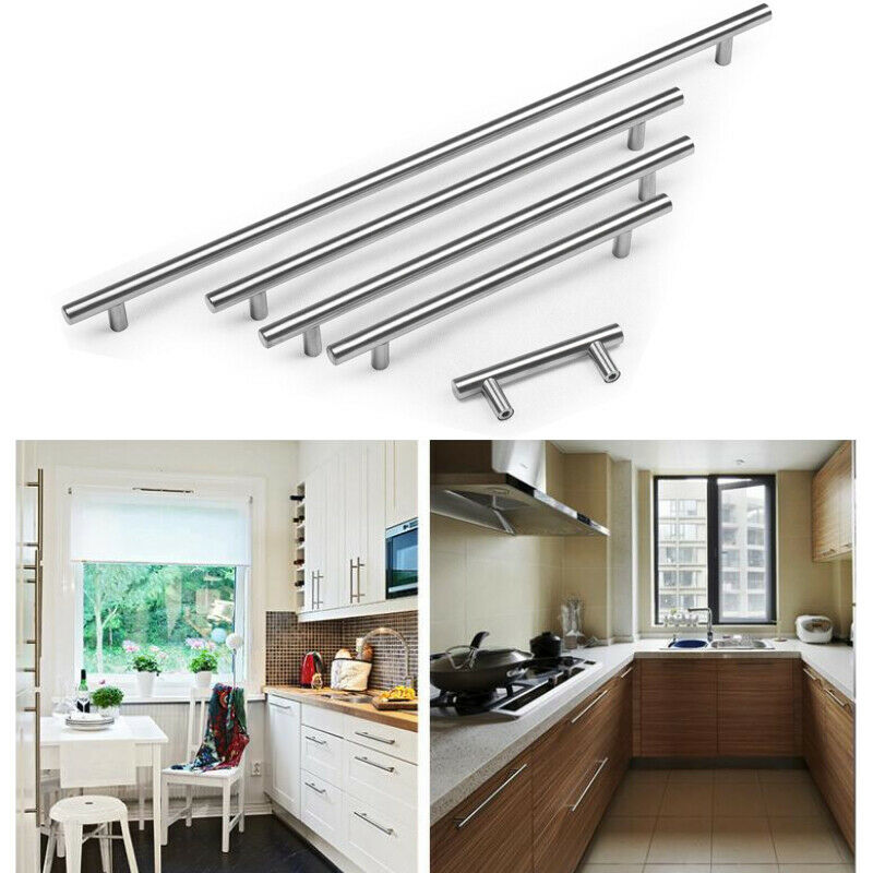 miniature 10 - Stainless Steel T bar Modern Kitchen Cabinet Door Handles Drawer Pulls Knobs