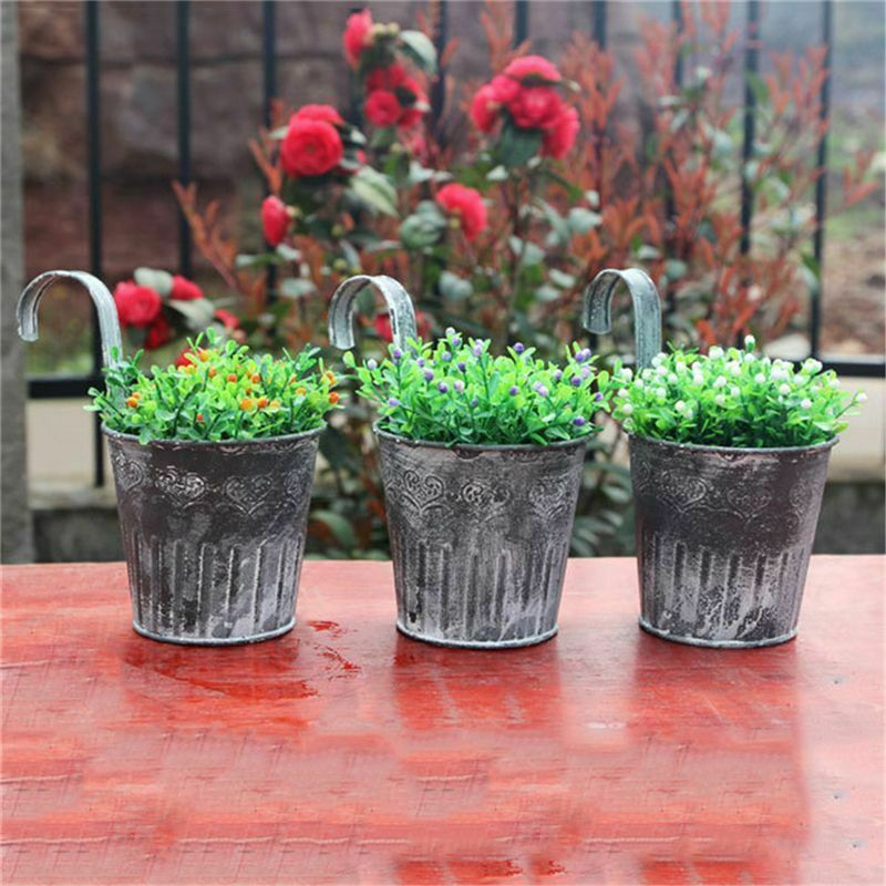Metal Flower Pots Wall Hanging Tin Baskets Bucket Plant Herb Planter Lovely~