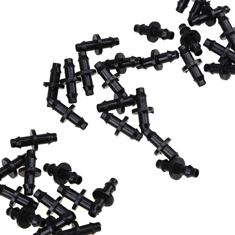 10-100pcs Barb Connector Double Way for 4//7mm Garden Yard Drip Irrigation Hose