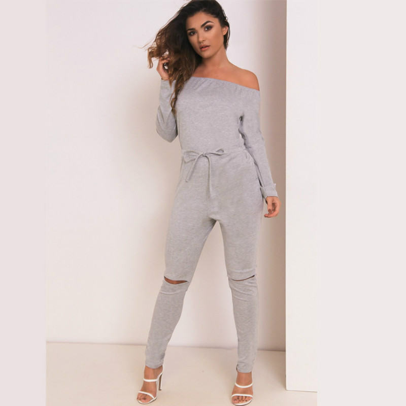 UK-Womens-One-Off-Shoulder-Ripped-Knee-Trousers-Clubwear-Ladies-Party-Jumpsuits thumbnail 15