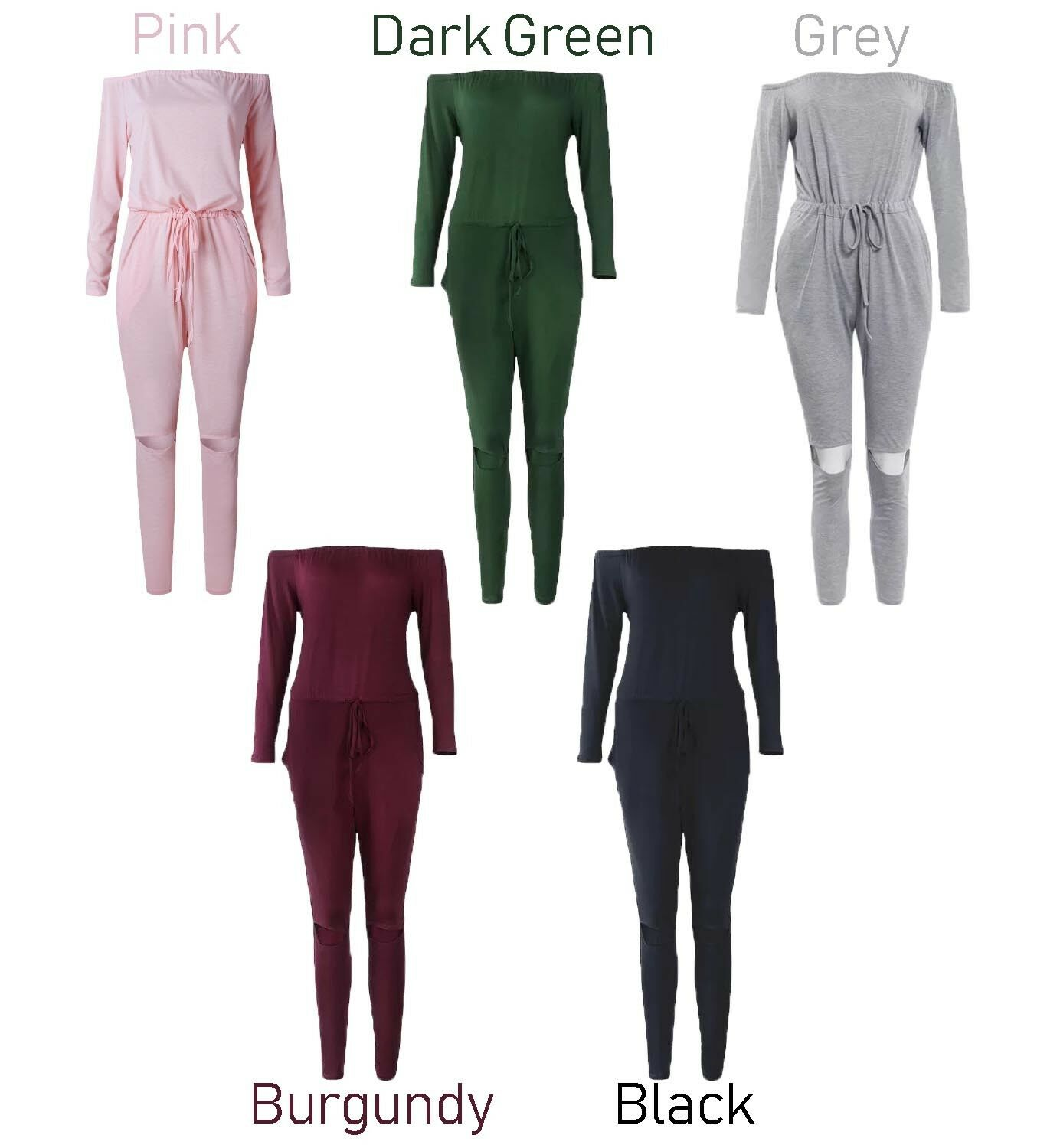 UK-Womens-One-Off-Shoulder-Ripped-Knee-Trousers-Clubwear-Ladies-Party-Jumpsuits thumbnail 21