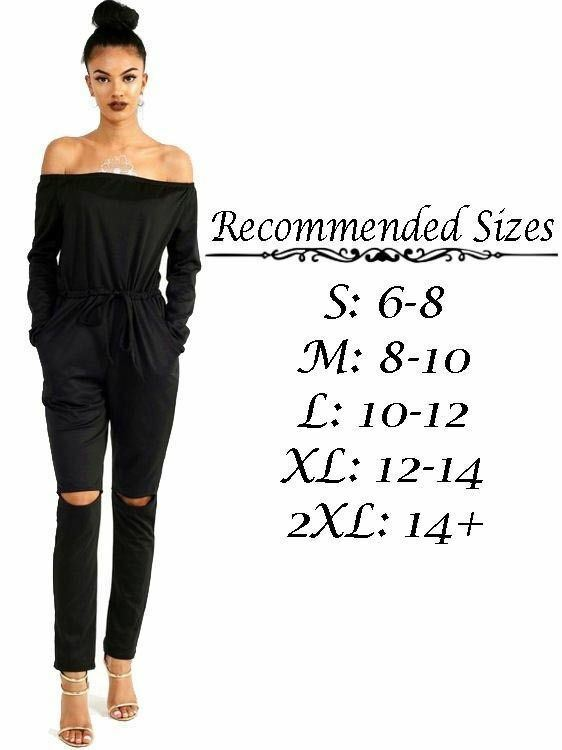 UK-Womens-One-Off-Shoulder-Ripped-Knee-Trousers-Clubwear-Ladies-Party-Jumpsuits thumbnail 22