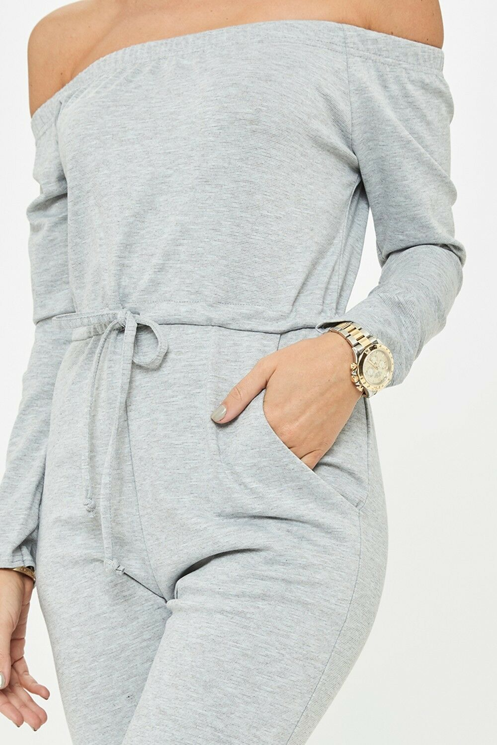 UK-Womens-One-Off-Shoulder-Ripped-Knee-Trousers-Clubwear-Ladies-Party-Jumpsuits thumbnail 17
