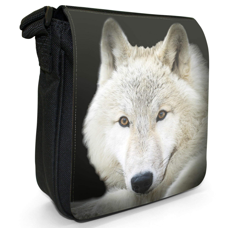 Wolf Wolves Small Black Canvas Shoulder Bag
