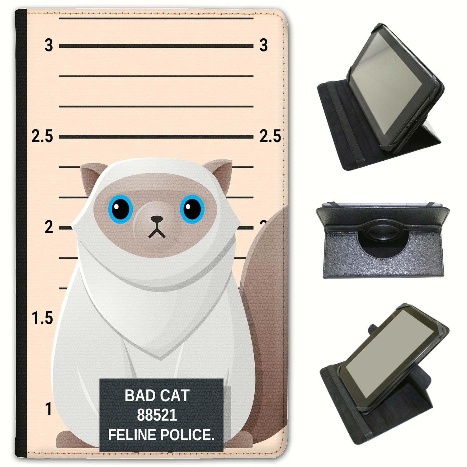 Police-Lineup-of-Naughty-Bad-Cats-Universal-Leather-Case-For-Huawei-Tablets miniatuur 36
