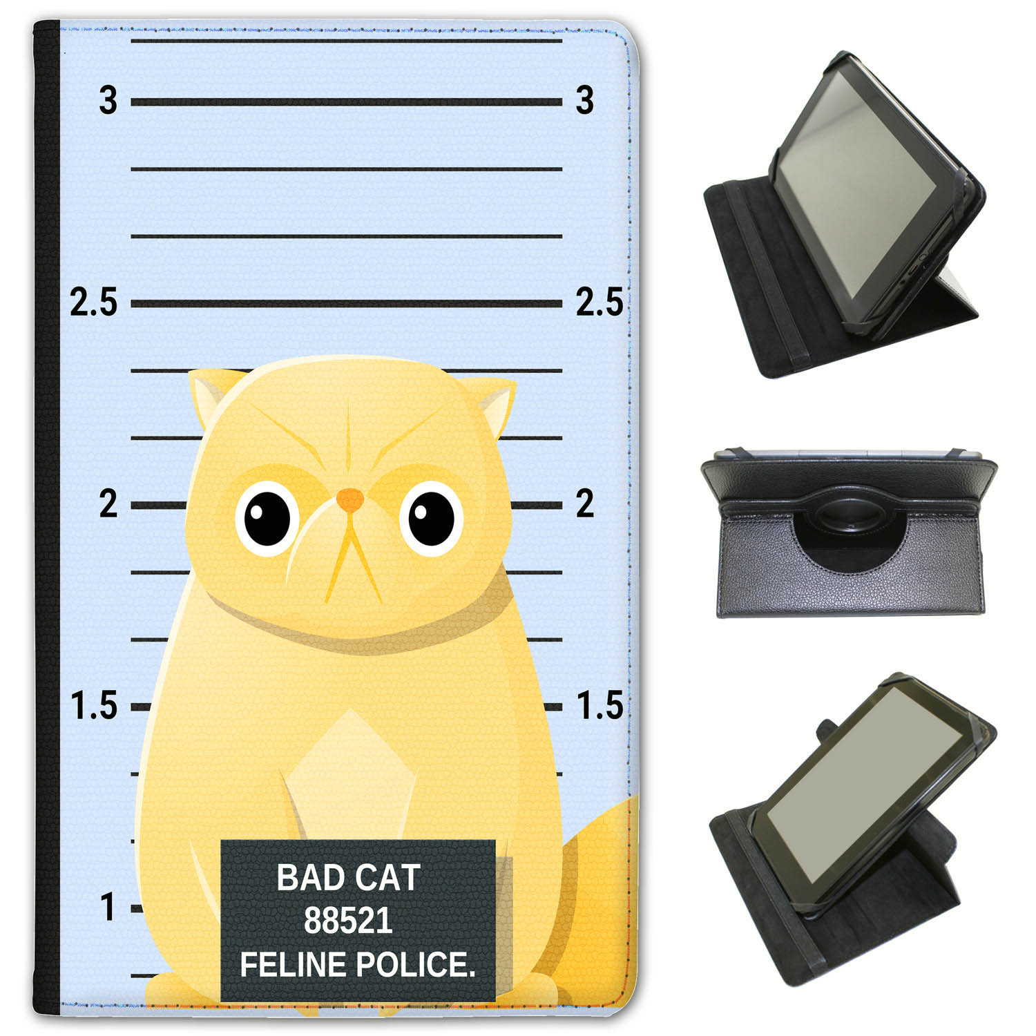 Police-Lineup-of-Naughty-Bad-Cats-Universal-Leather-Case-For-Huawei-Tablets miniatuur 22