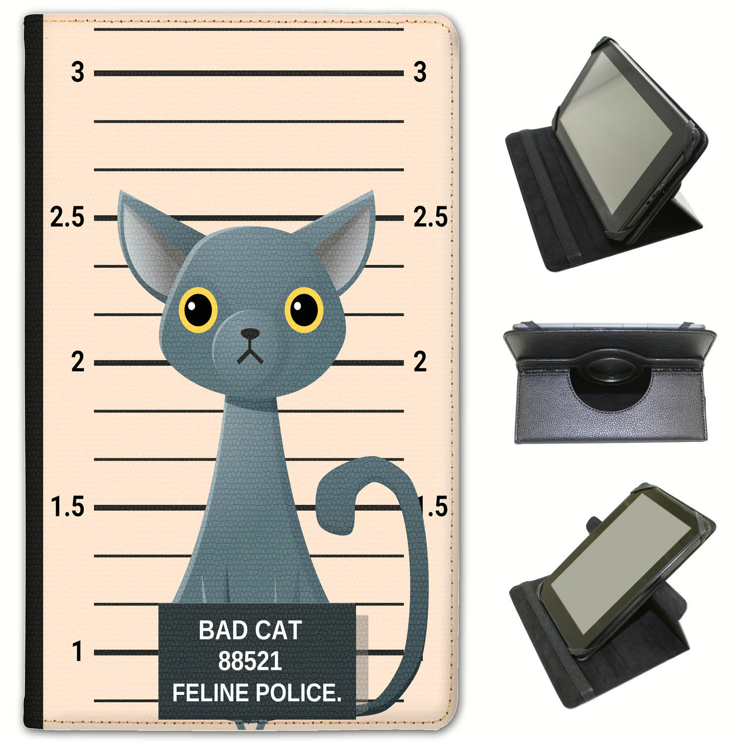 Police-Lineup-of-Naughty-Bad-Cats-Universal-Leather-Case-For-Huawei-Tablets miniatuur 8