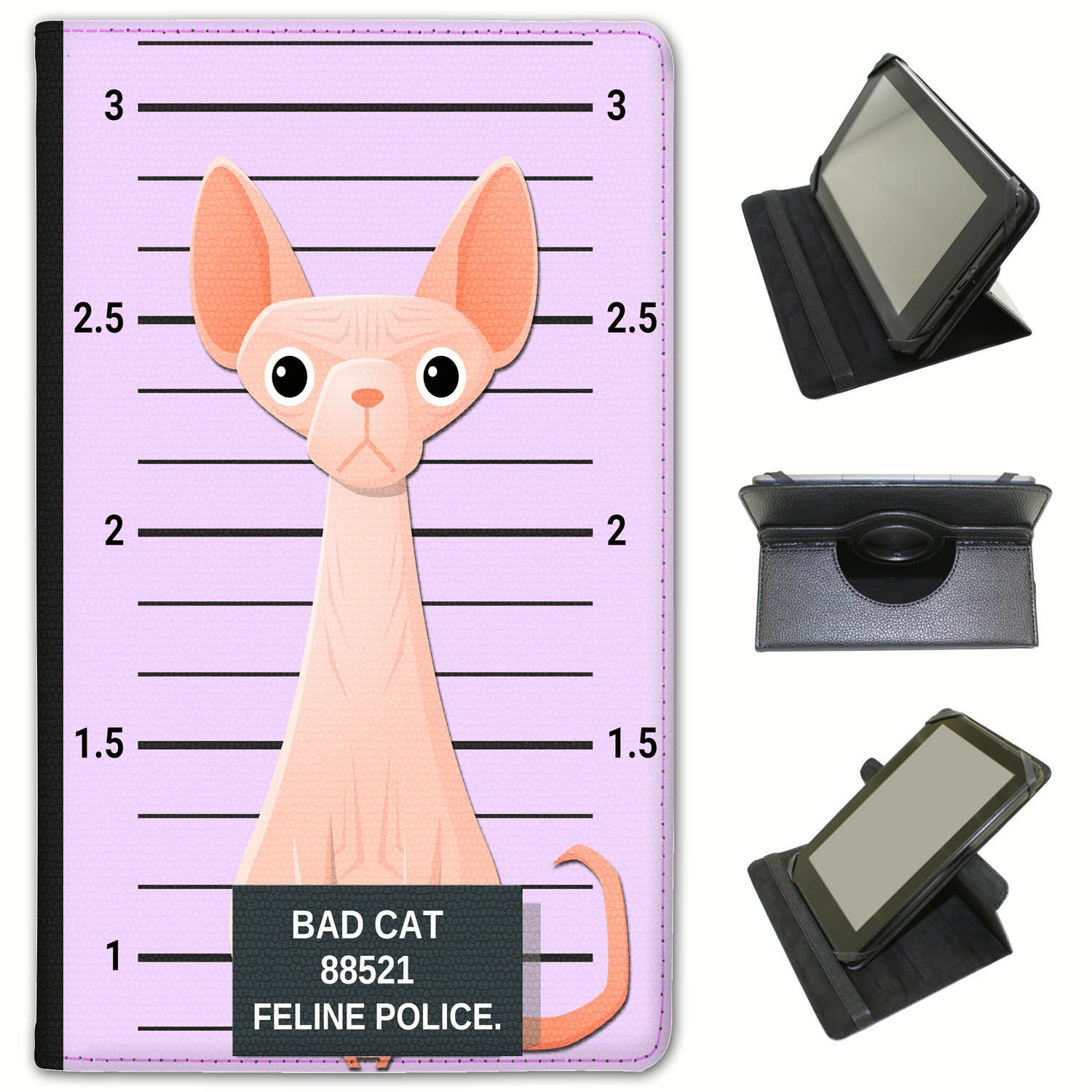 Police-Lineup-of-Naughty-Bad-Cats-Universal-Leather-Case-For-Huawei-Tablets miniatuur 15