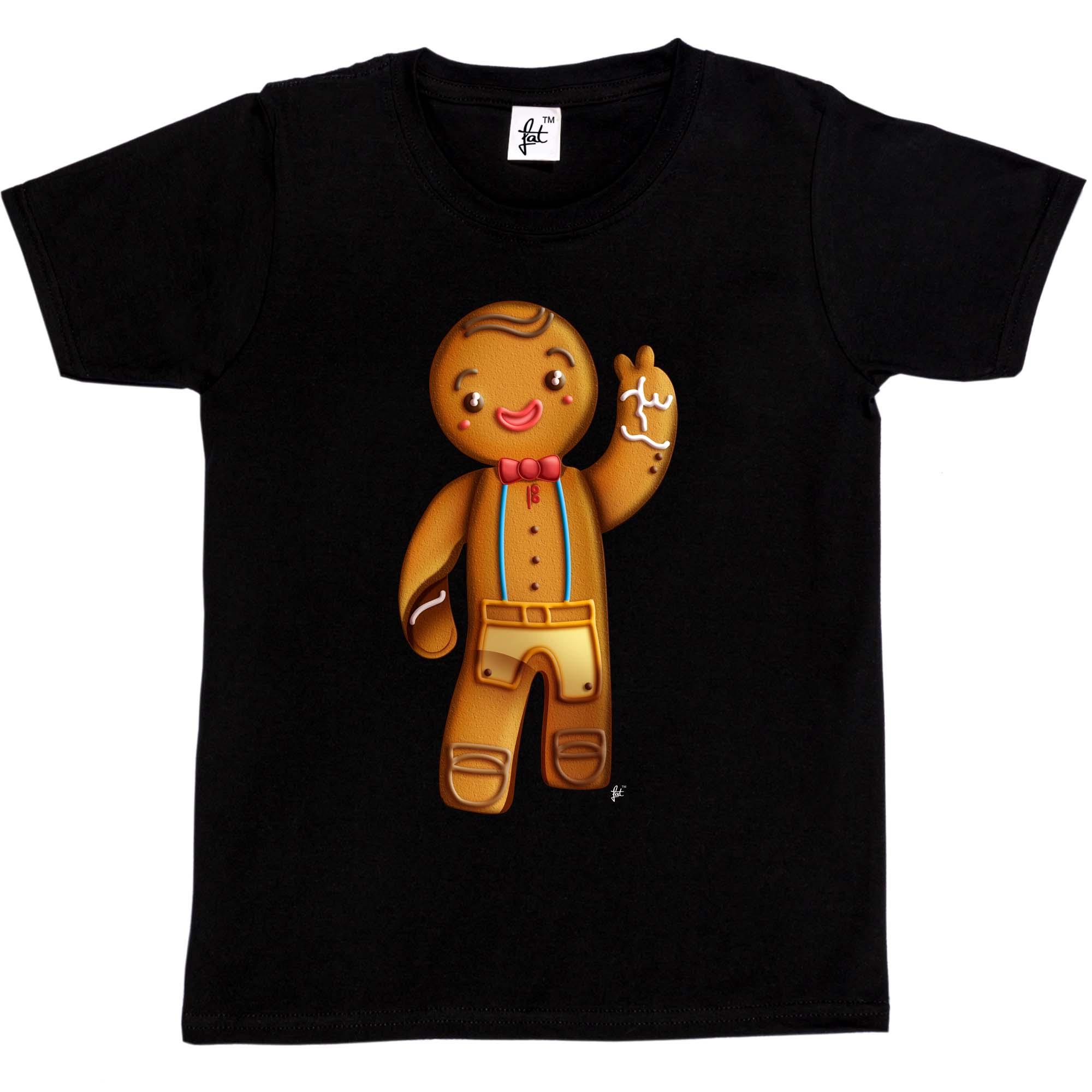 Happy Gingerbread Man Smiling /& Waving Kids Boys Girls T-Shirt