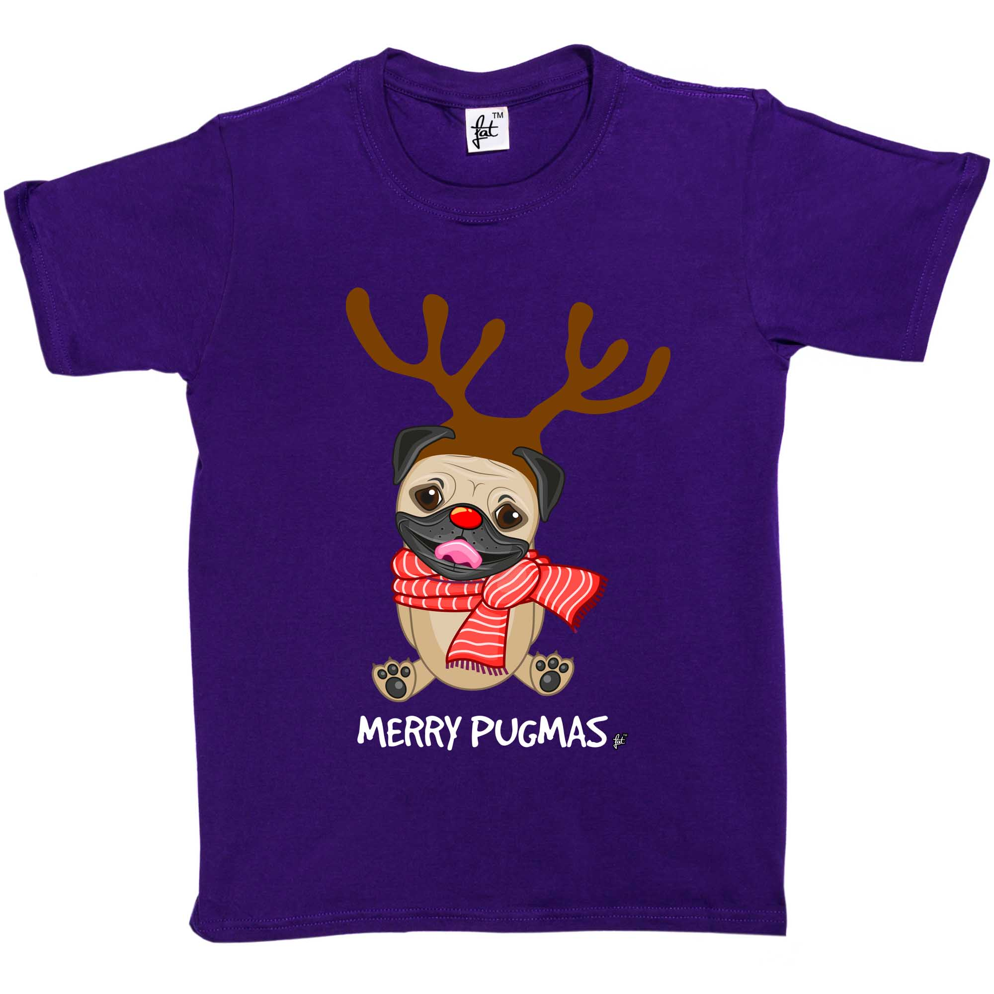 Girls T-Shirt Merry Pugmas Christmas Pug Wears Reindeer Antlers Kids Boys