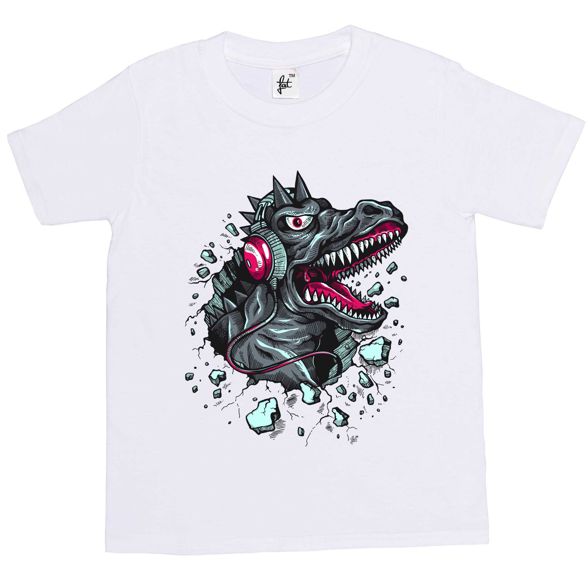 1Tee Kids Girls Dinosaur Breaking through Wearing Headphones T-Shirt