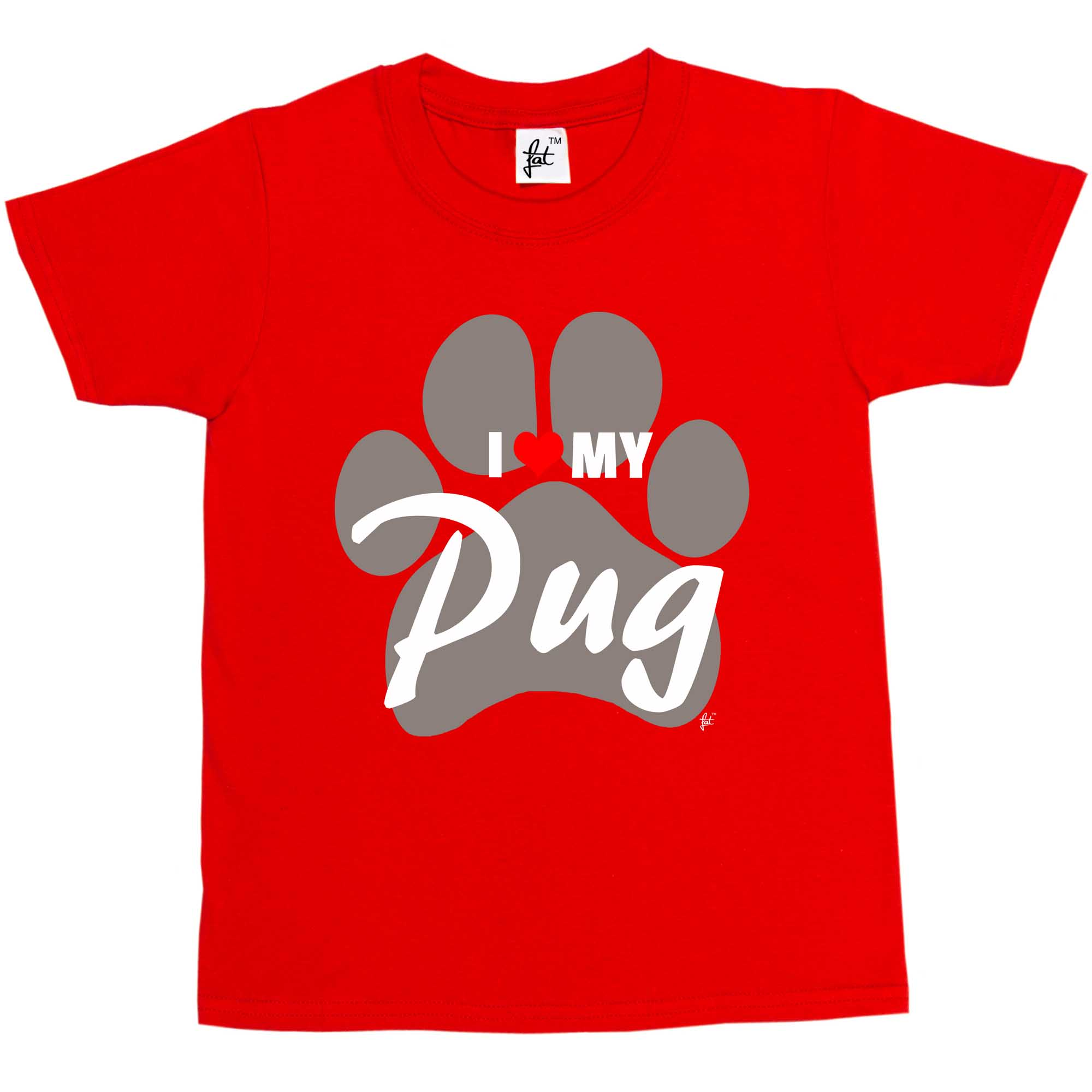 I Love My Pug Paw Print Dog  Kids Boys Girls T-Shirt