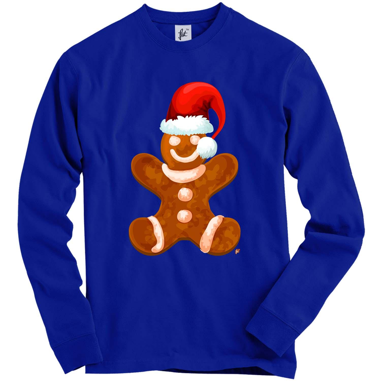 Happy Gingerbread Man Wearing Red Santa Hat Adult Christmas Jumper Sweatshirt