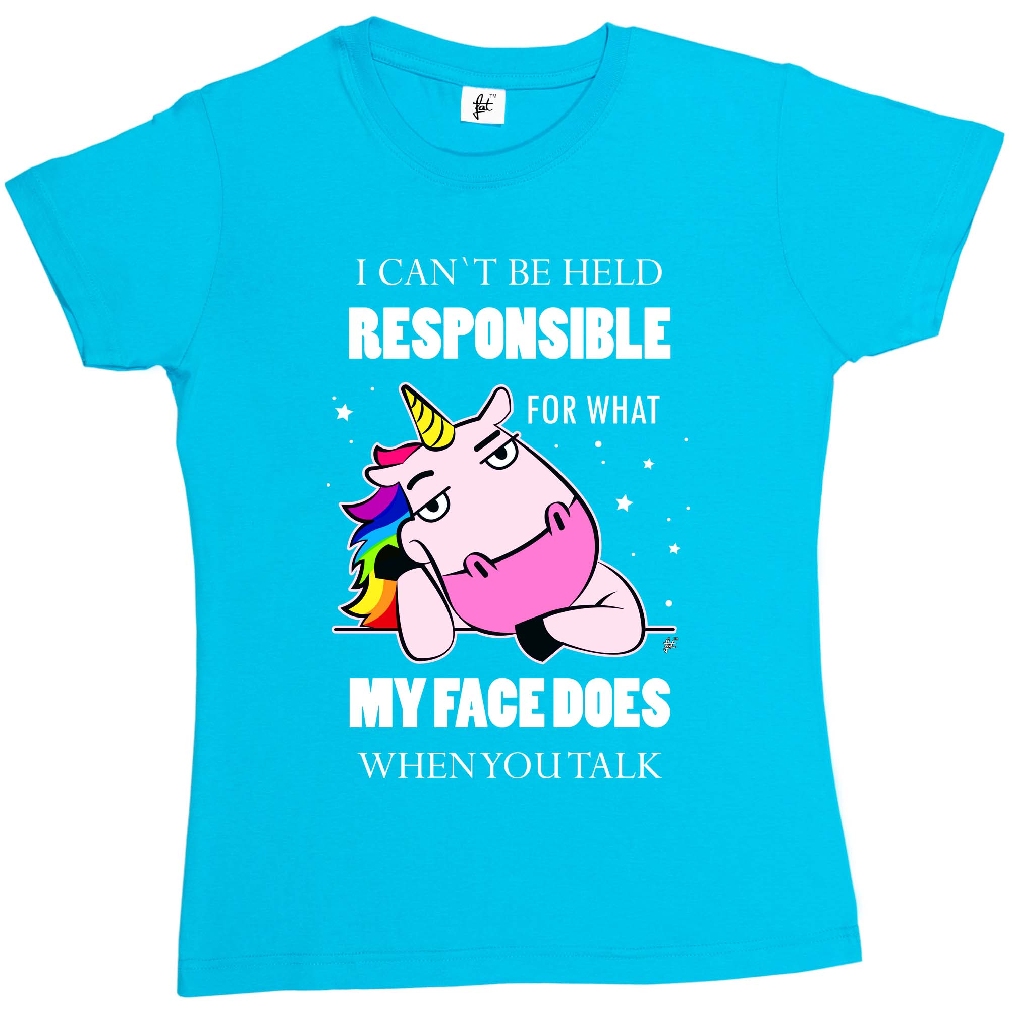1Tee Womens Loose Fit I Can/'t Be Held Responsible My Face Does Unicorn T-Shirt