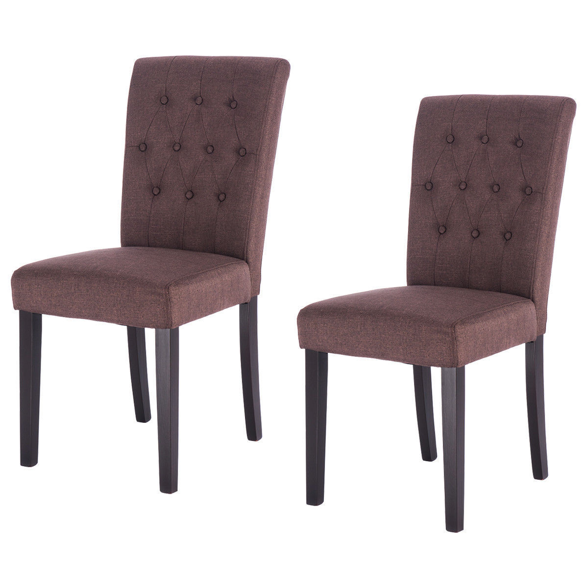 Set of 2 Fabric Dining Chair Armless Accent Tufted ...