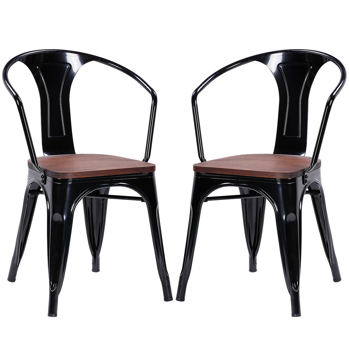 Set of 2 Tolix Style Armchair Stackable Bistro Metal Wood St
