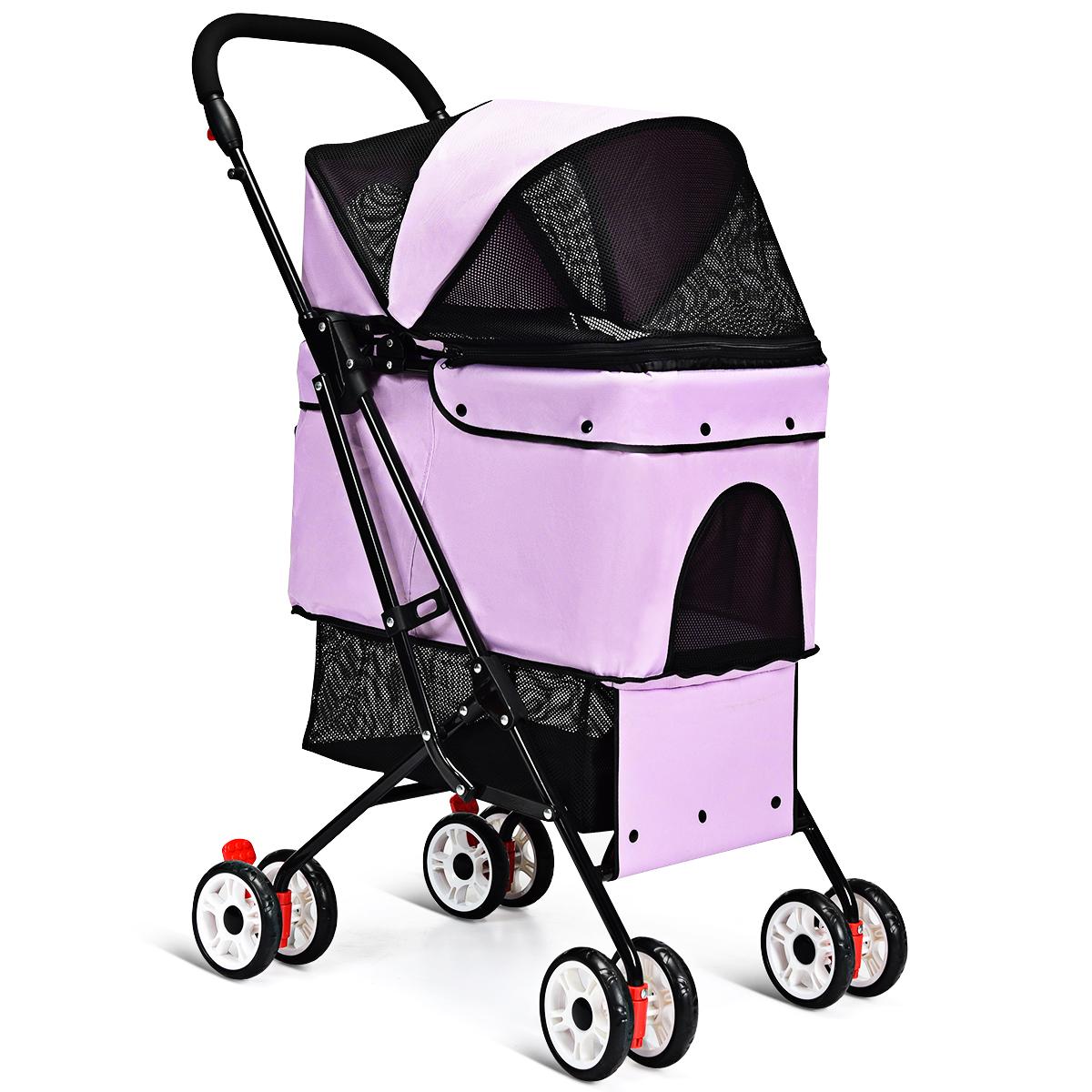 Pets Stroller Portable for Cat Dog Cage Stroller Travel Fold
