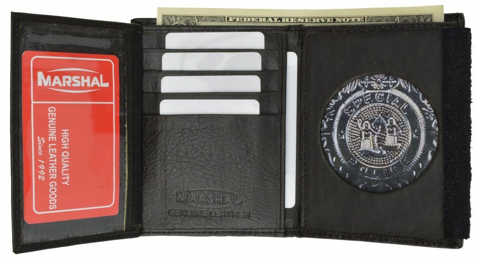 1 RFID Blocking Leather Wallet Badge Holder Sheriff Officer ID Police Shield Blk