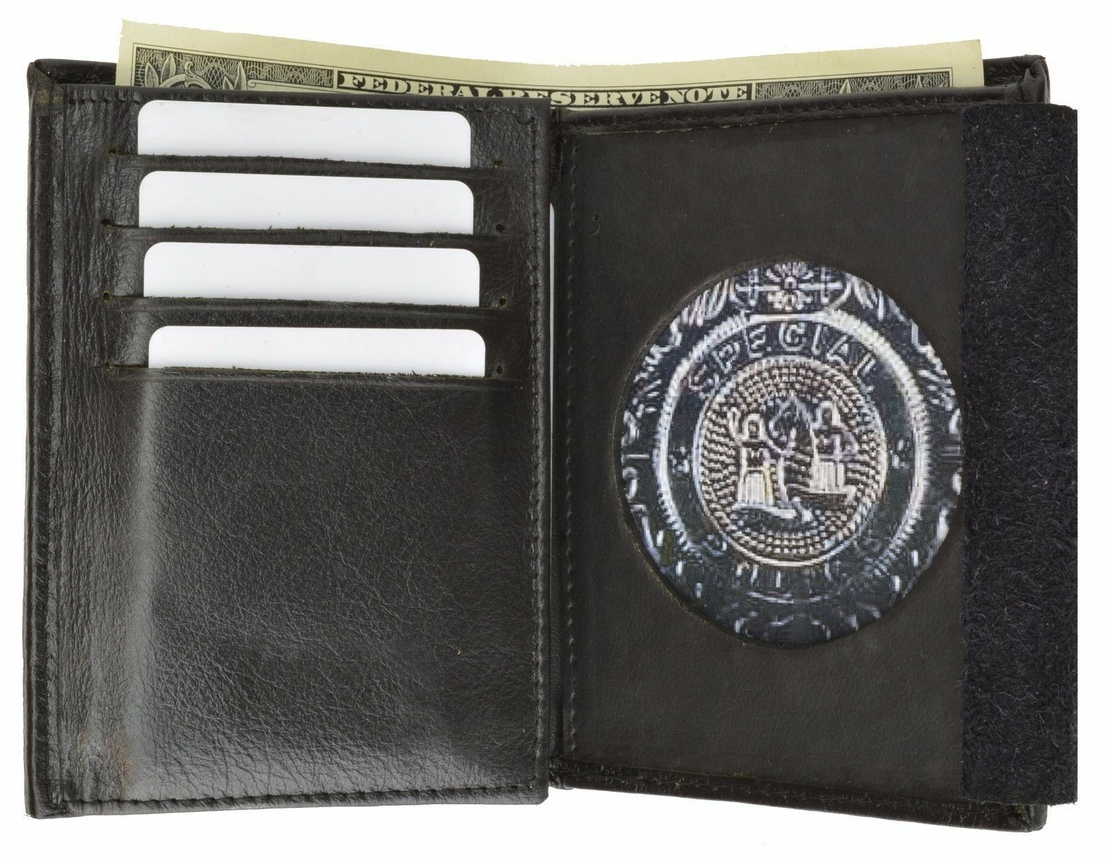 Police Sheriff Security Fire Badge /& ID Black Leather Wallet Case Shape 1379