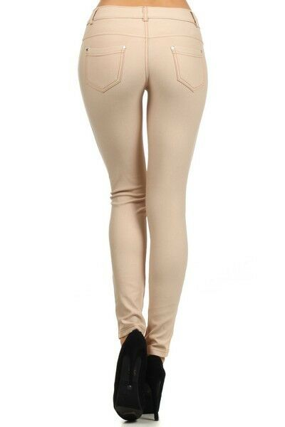 Women-039-s-Classic-Solid-Cotton-Blend-Jeggings-Soft-Skinny-Stretch-Pants thumbnail 8