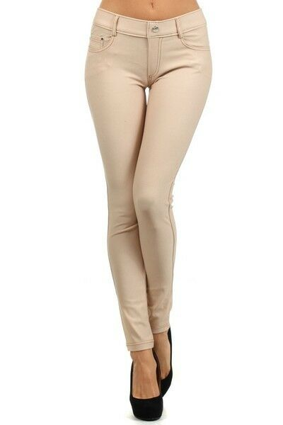 Women-039-s-Classic-Solid-Cotton-Blend-Jeggings-Soft-Skinny-Stretch-Pants thumbnail 7