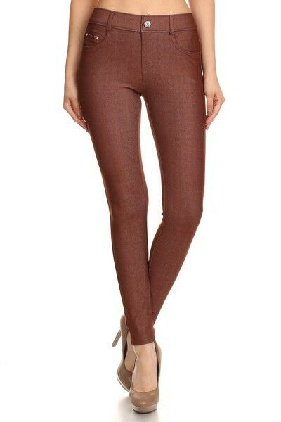Women-039-s-Classic-Solid-Cotton-Blend-Jeggings-Soft-Skinny-Stretch-Pants thumbnail 10
